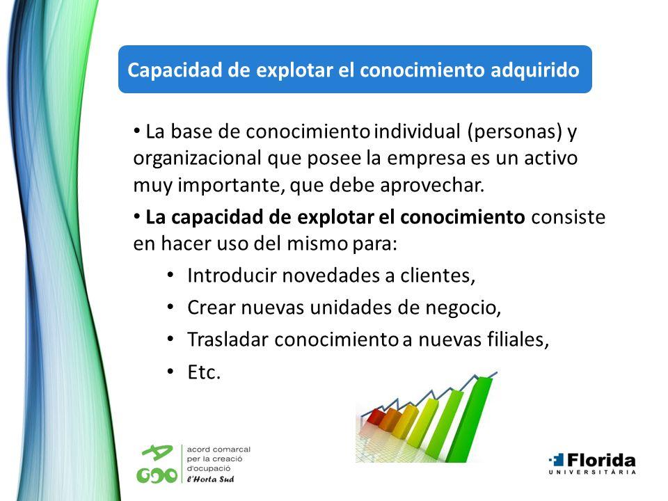 La base de conocimiento individual (personas) y organizacional que posee la empresa es un activo muy importante, que debe aprovechar. La capacidad de