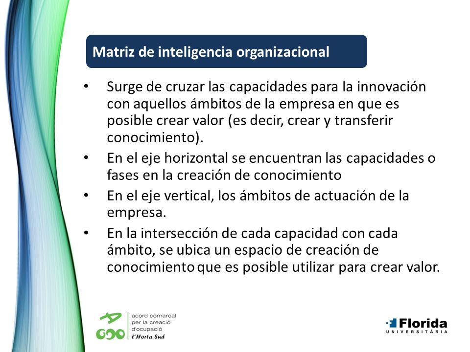 Surge de cruzar las capacidades para la innovación con aquellos ámbitos de la empresa en que es posible crear valor (es decir, crear y transferir conocimiento).