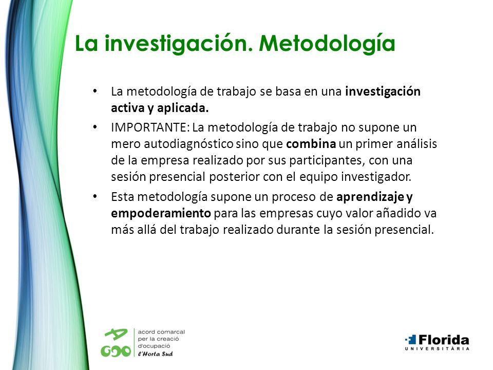 La investigación. Metodología La metodología de trabajo se basa en una investigación activa y aplicada. IMPORTANTE: La metodología de trabajo no supon