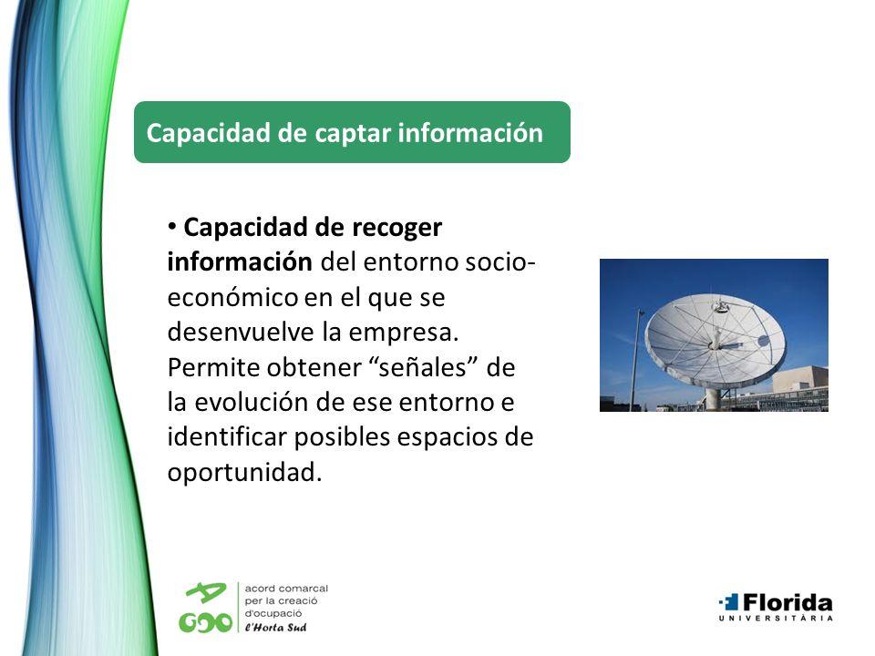 Capacidad de recoger información del entorno socio- económico en el que se desenvuelve la empresa. Permite obtener señales de la evolución de ese ento