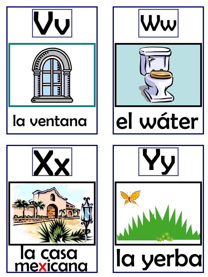 la ventana Vv Ww la casa Xx la yerba Yy el wáter mexicana
