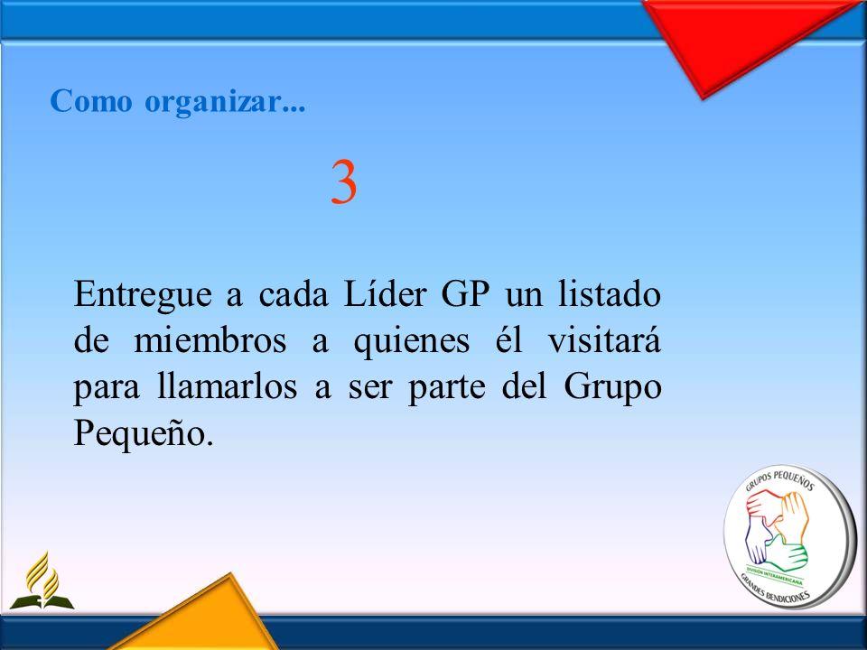 Como organizar... 3 Entregue a cada Líder GP un listado de miembros a quienes él visitará para llamarlos a ser parte del Grupo Pequeño.