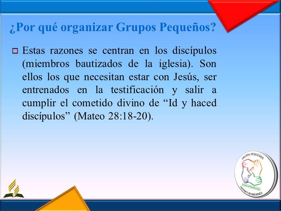 ¿Por qué organizar Grupos Pequeños? Estas razones se centran en los discípulos (miembros bautizados de la iglesia). Son ellos los que necesitan estar