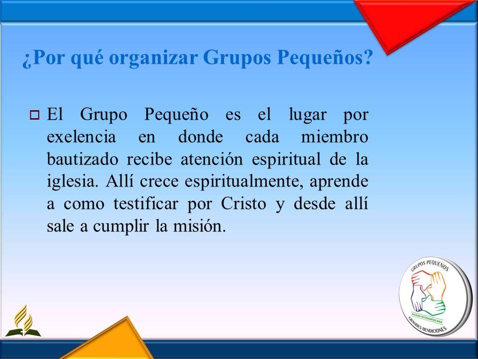 ¿Por qué organizar Grupos Pequeños? El Grupo Pequeño es el lugar por exelencia en donde cada miembro bautizado recibe atención espiritual de la iglesi