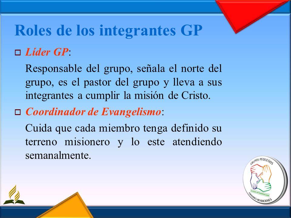 Roles de los integrantes GP Líder GP: Responsable del grupo, señala el norte del grupo, es el pastor del grupo y lleva a sus integrantes a cumplir la