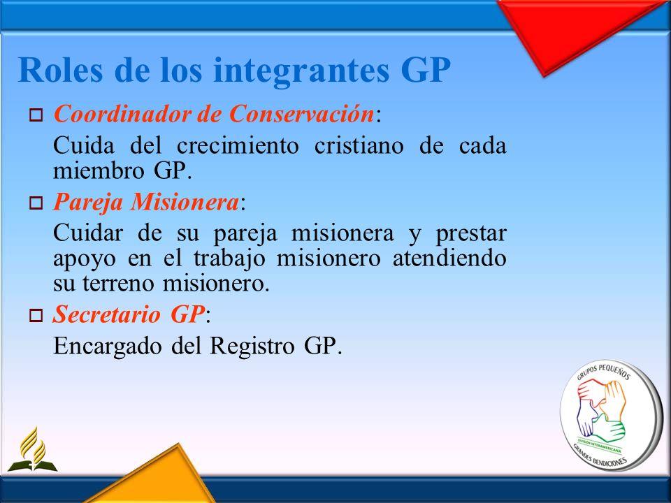 Roles de los integrantes GP Coordinador de Conservación: Cuida del crecimiento cristiano de cada miembro GP. Pareja Misionera: Cuidar de su pareja mis