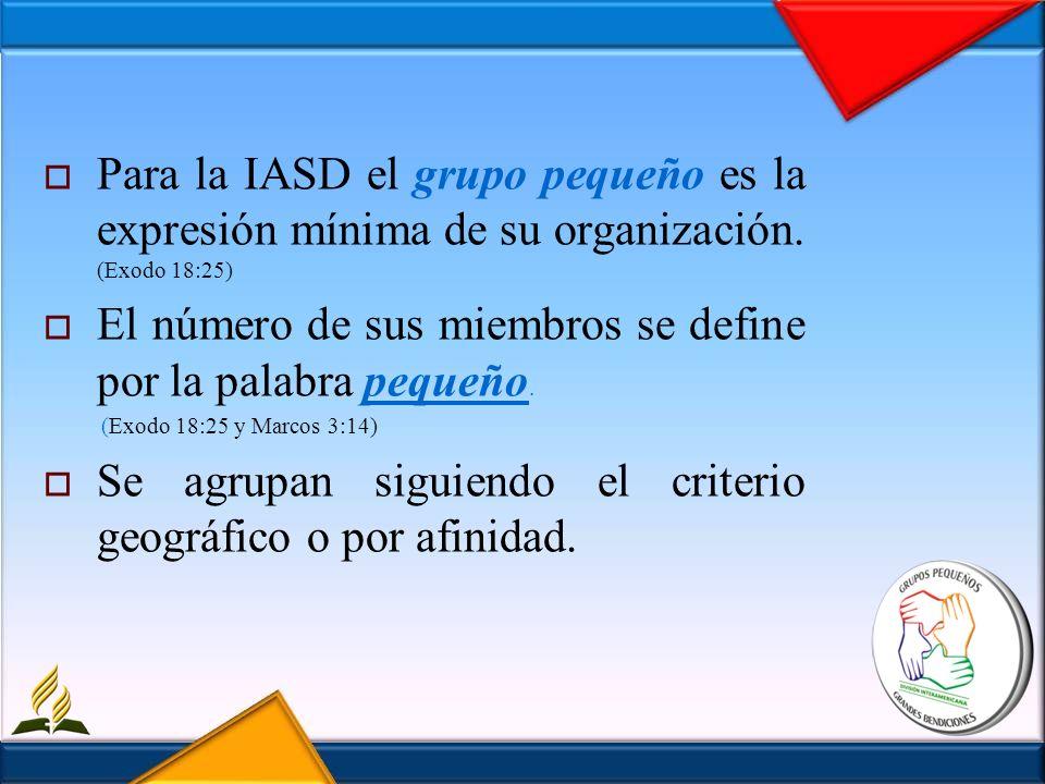 Para la IASD el grupo pequeño es la expresión mínima de su organización. (Exodo 18:25) El número de sus miembros se define por la palabra pequeño. (Ex