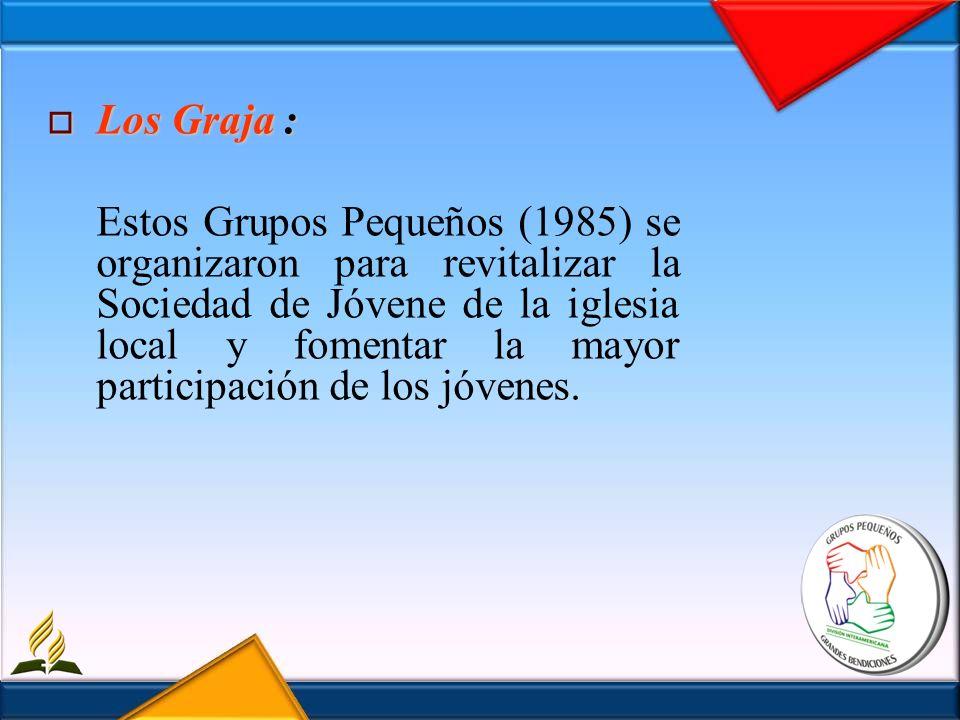 Los Graja : Los Graja : Estos Grupos Pequeños (1985) se organizaron para revitalizar la Sociedad de Jóvene de la iglesia local y fomentar la mayor par