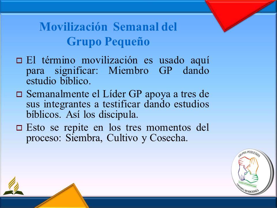 Movilización Semanal del Grupo Pequeño El término movilización es usado aquí para significar: Miembro GP dando estudio bíblico. Semanalmente el Líder