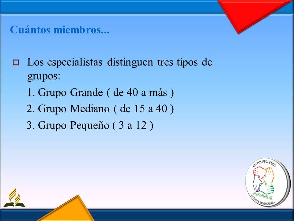 Cuántos miembros... Los especialistas distinguen tres tipos de grupos: 1. Grupo Grande ( de 40 a más ) 2. Grupo Mediano ( de 15 a 40 ) 3. Grupo Pequeñ