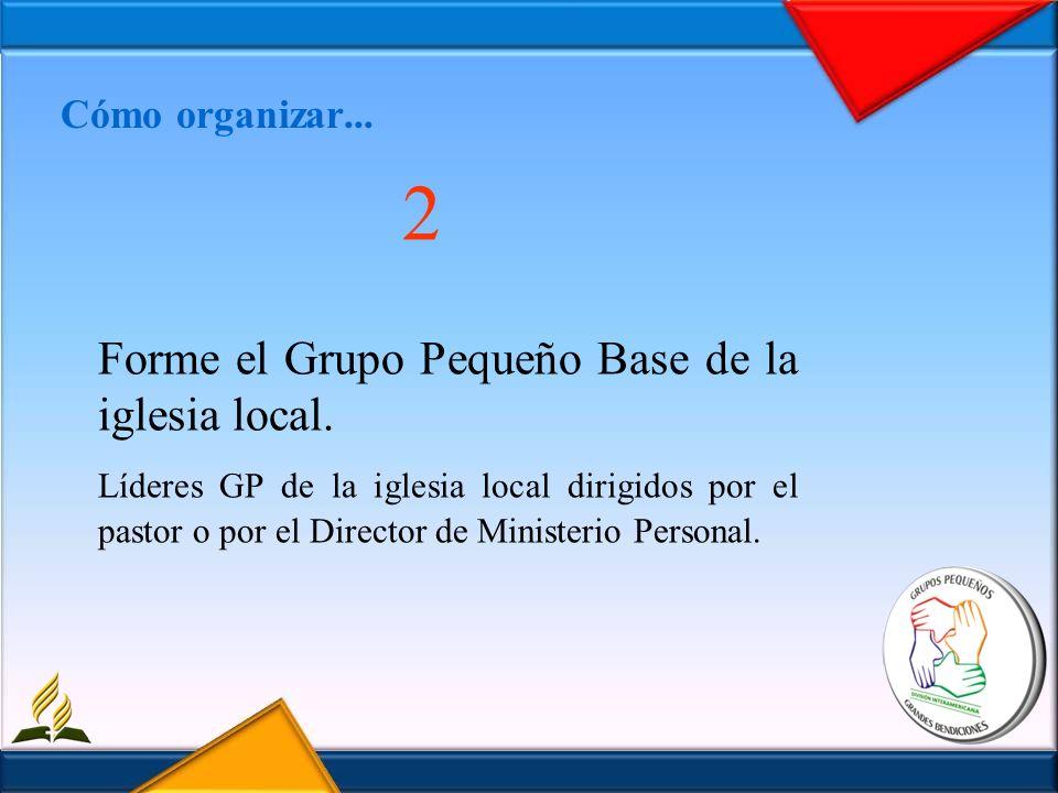 Cómo organizar... 2 Forme el Grupo Pequeño Base de la iglesia local. Líderes GP de la iglesia local dirigidos por el pastor o por el Director de Minis