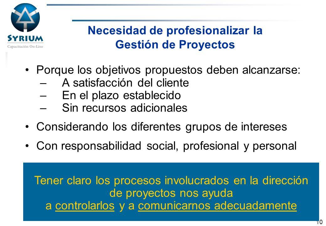 Rosario Morelli, PMP 10 Necesidad de profesionalizar la Gestión de Proyectos Porque los objetivos propuestos deben alcanzarse: –A satisfacción del cli