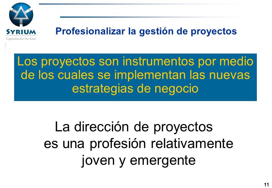Rosario Morelli, PMP 11 Profesionalizar la gestión de proyectos Los proyectos son instrumentos por medio de los cuales se implementan las nuevas estra