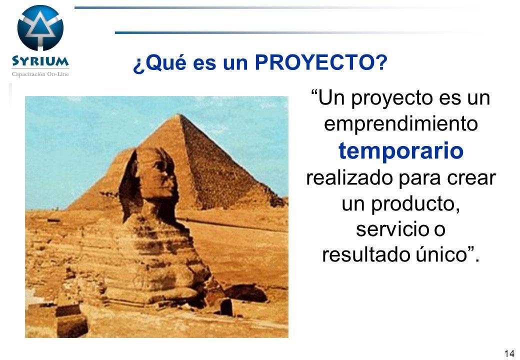 Rosario Morelli, PMP 14 ¿Qué es un PROYECTO? Un proyecto es un emprendimiento temporario realizado para crear un producto, servicio o resultado único.