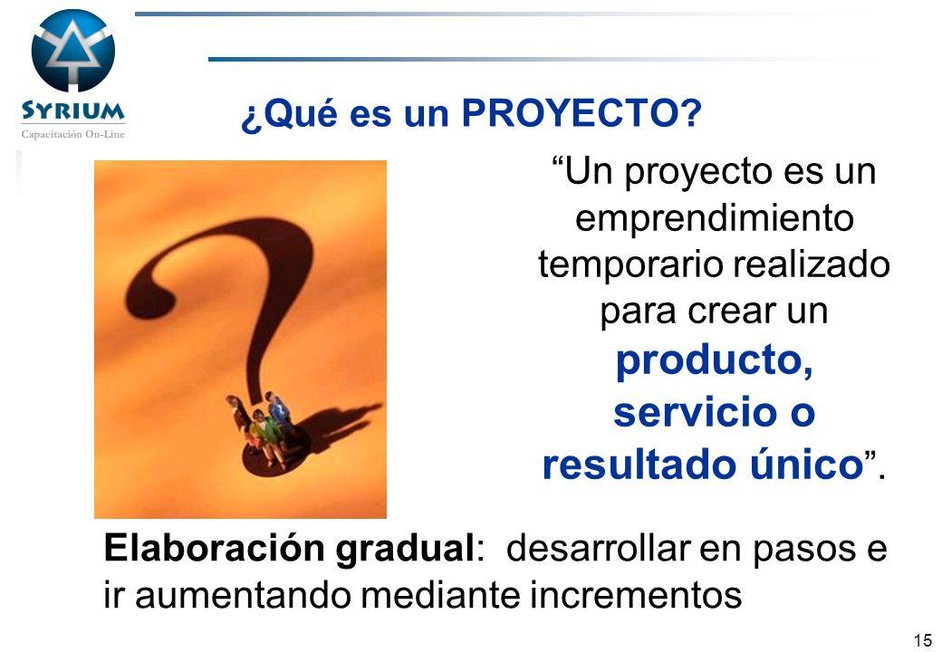 Rosario Morelli, PMP 15 ¿Qué es un PROYECTO? Un proyecto es un emprendimiento temporario realizado para crear un producto, servicio o resultado único.