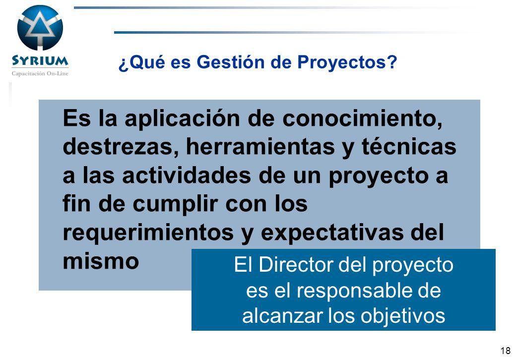 Rosario Morelli, PMP 18 ¿Qué es Gestión de Proyectos? Es la aplicación de conocimiento, destrezas, herramientas y técnicas a las actividades de un pro