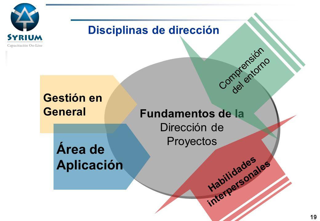 Rosario Morelli, PMP 19 Dirección de Proyectos Disciplinas de dirección Fundamentos de la Dirección de Proyectos Gestión en General Área de Aplicación