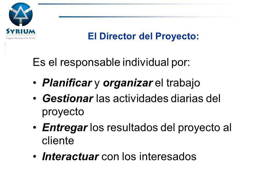 Rosario Morelli, PMP El Director del Proyecto: Es el responsable individual por: Planificar y organizar el trabajo Gestionar las actividades diarias d
