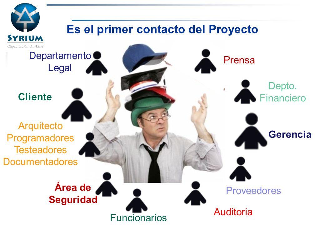 Rosario Morelli, PMP Proveedores Gerencia Cliente Área de Seguridad Departamento Legal Funcionarios Depto. Financiero Arquitecto Programadores Testead