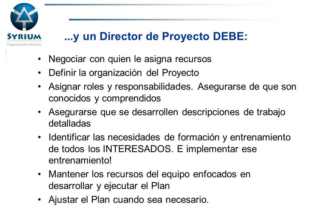 Rosario Morelli, PMP...y un Director de Proyecto DEBE: Negociar con quien le asigna recursos Definir la organización del Proyecto Asignar roles y resp