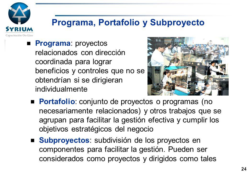 Rosario Morelli, PMP 24 Programa, Portafolio y Subproyecto Programa: proyectos relacionados con dirección coordinada para lograr beneficios y controle
