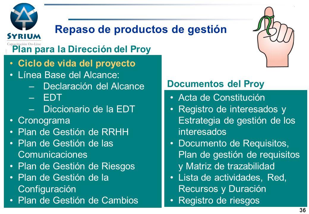 Rosario Morelli, PMP 36 Repaso de productos de gestión Ciclo de vida del proyecto Línea Base del Alcance: –Declaración del Alcance –EDT –Diccionario d