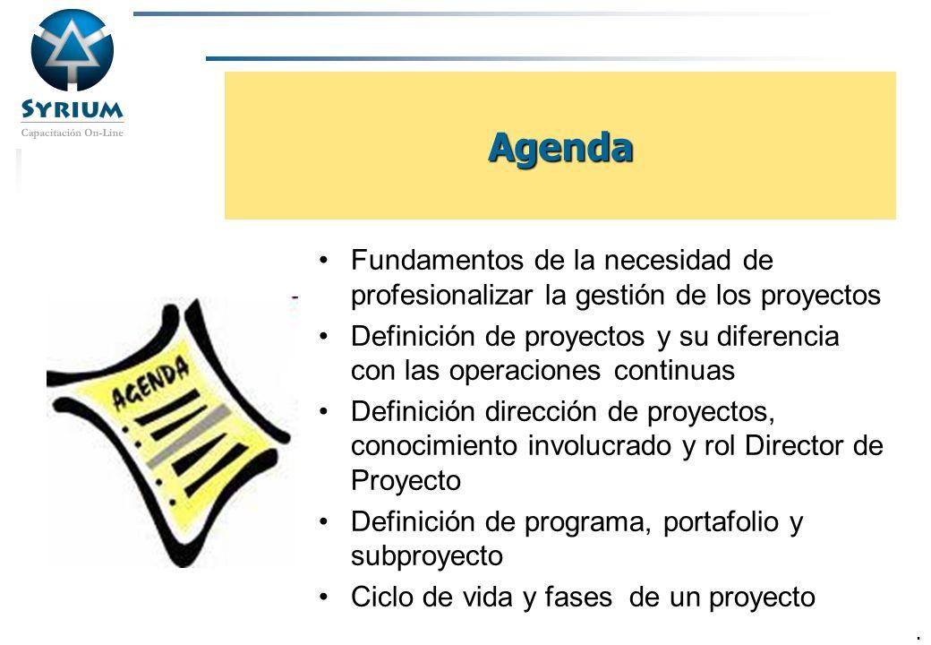 Rosario Morelli, PMP 4 Agenda Fundamentos de la necesidad de profesionalizar la gestión de los proyectos Definición de proyectos y su diferencia con l
