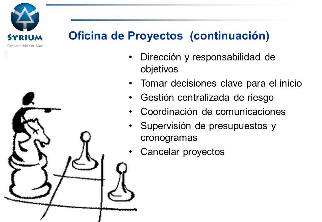 Rosario Morelli, PMP Oficina de Proyectos (continuación) Dirección y responsabilidad de objetivos Tomar decisiones clave para el inicio Gestión centra