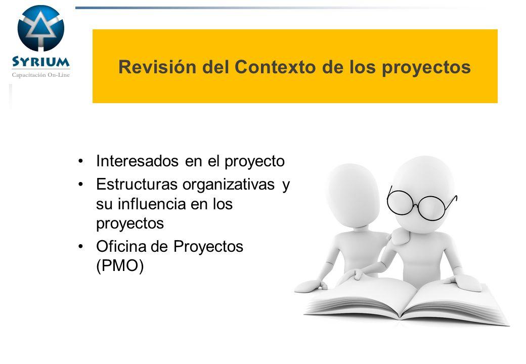 Rosario Morelli, PMP Revisión del Contexto de los proyectos Interesados en el proyecto Estructuras organizativas y su influencia en los proyectos Ofic