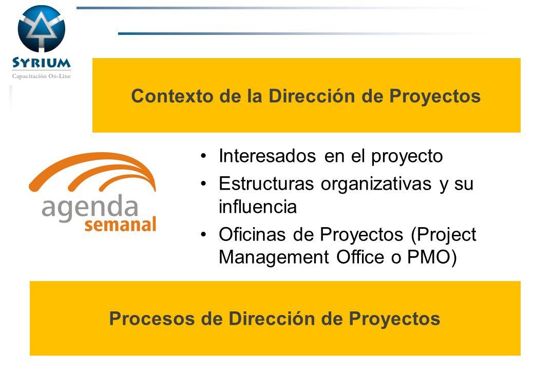 Rosario Morelli, PMP Contexto de la Dirección de Proyectos Interesados en el proyecto Estructuras organizativas y su influencia Oficinas de Proyectos
