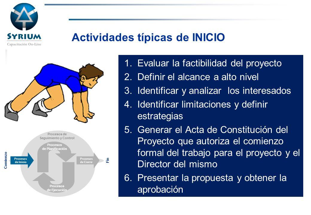 Rosario Morelli, PMP Actividades típicas de INICIO 1.Evaluar la factibilidad del proyecto 2.Definir el alcance a alto nivel 3.Identificar y analizar l