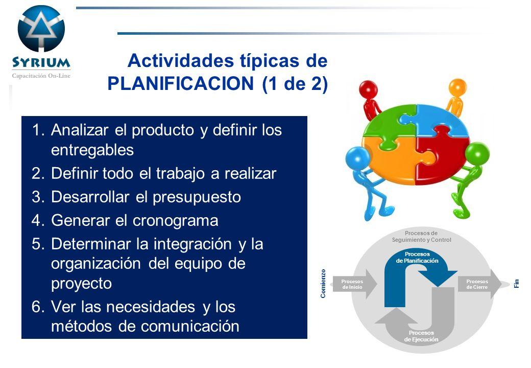 Rosario Morelli, PMP Actividades típicas de PLANIFICACION (1 de 2) 1.Analizar el producto y definir los entregables 2.Definir todo el trabajo a realiz