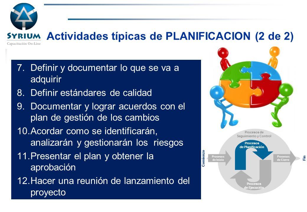 Rosario Morelli, PMP Actividades típicas de PLANIFICACION (2 de 2) 7.Definir y documentar lo que se va a adquirir 8.Definir estándares de calidad 9.Do