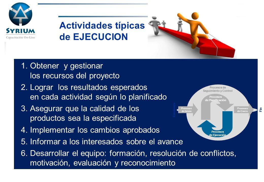 Rosario Morelli, PMP Actividades típicas de EJECUCION 1.Obtener y gestionar los recursos del proyecto 2.Lograr los resultados esperados en cada activi