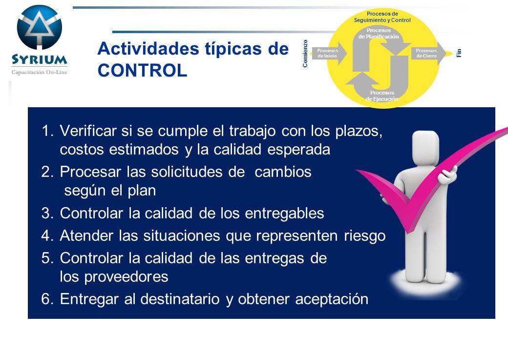 Rosario Morelli, PMP Actividades típicas de CONTROL 1.Verificar si se cumple el trabajo con los plazos, costos estimados y la calidad esperada 2.Proce