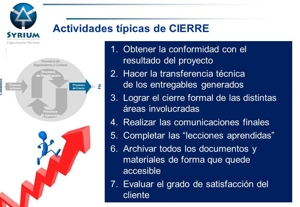 Rosario Morelli, PMP Actividades típicas de CIERRE 1.Obtener la conformidad con el resultado del proyecto 2.Hacer la transferencia técnica de los entr