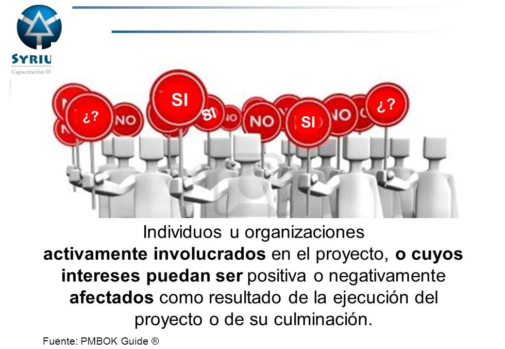 Rosario Morelli, PMP Los INTERESADOS en el proyecto Individuos u organizaciones activamente involucrados en el proyecto, o cuyos intereses puedan ser