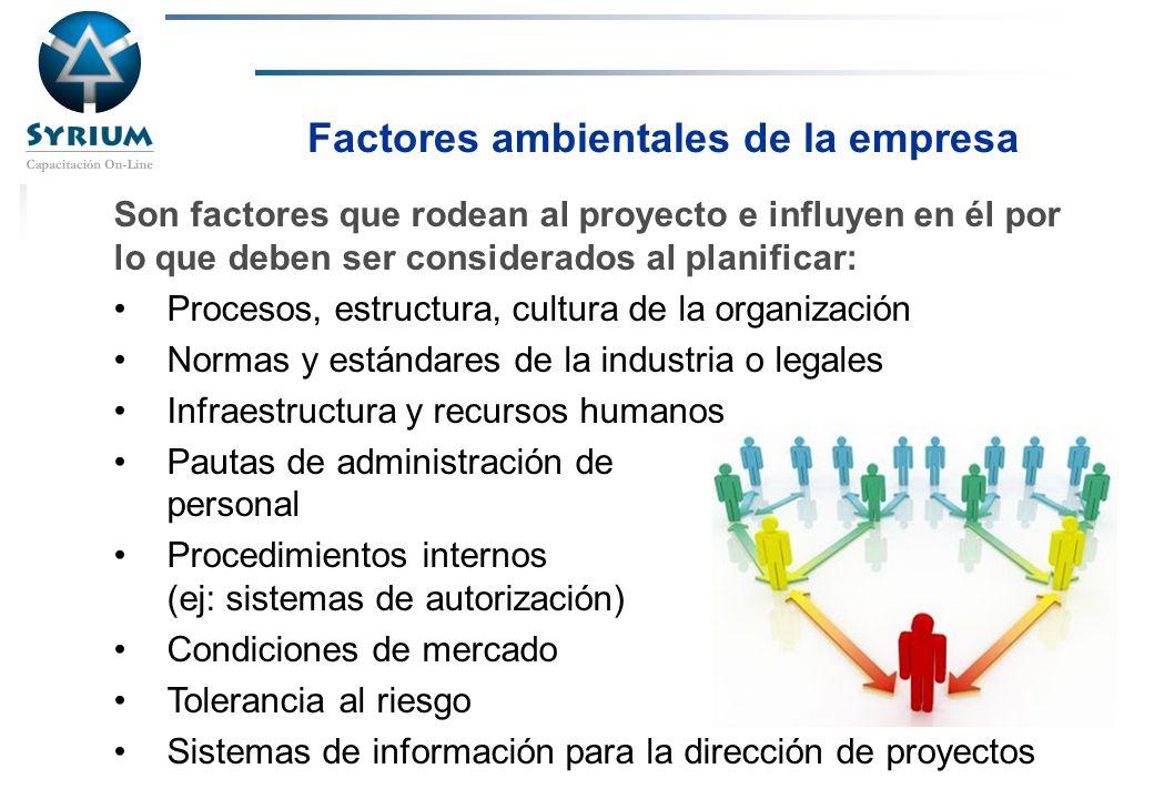 Rosario Morelli, PMP Factores ambientales de la empresa Son factores que rodean al proyecto e influyen en él por lo que deben ser considerados al plan