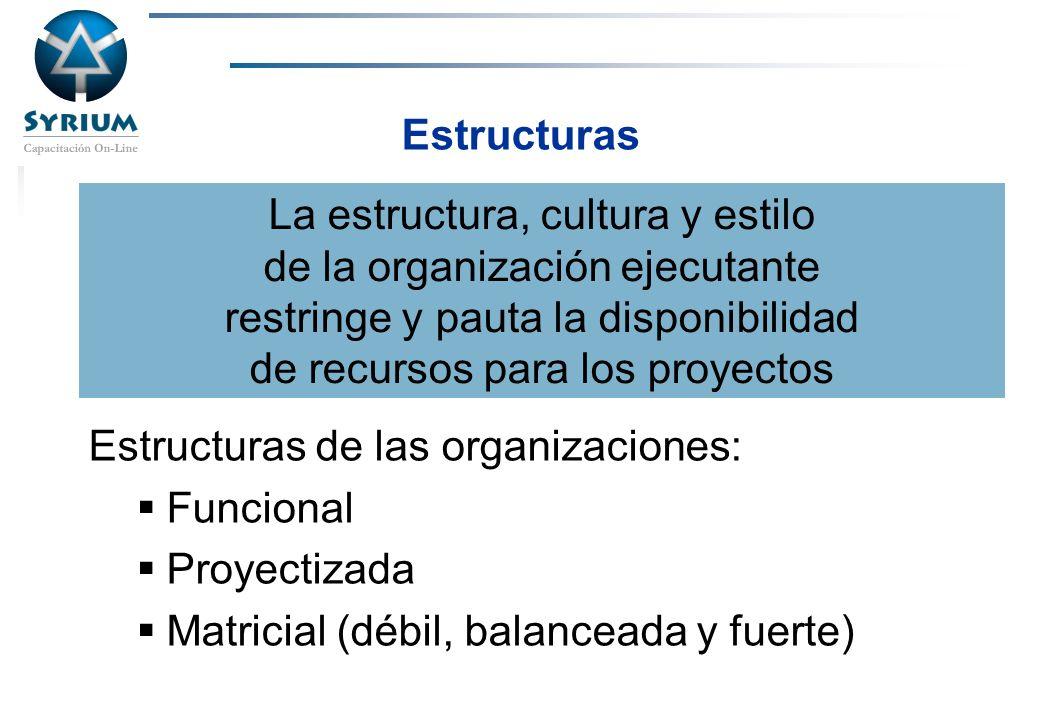 Rosario Morelli, PMP Estructuras Estructuras de las organizaciones: Funcional Proyectizada Matricial (débil, balanceada y fuerte) La estructura, cultu
