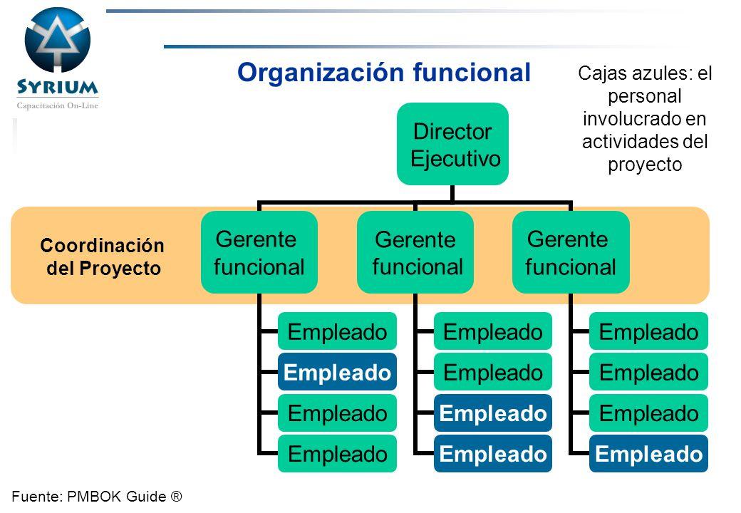 Rosario Morelli, PMP Organización funcional Coordinación del Proyecto Cajas azules: el personal involucrado en actividades del proyecto Fuente: PMBOK