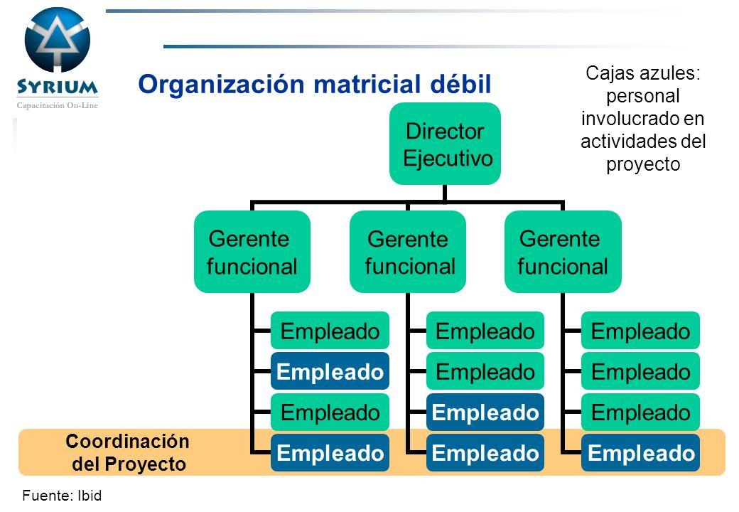 Rosario Morelli, PMP Organización matricial débil Coordinación del Proyecto Cajas azules: personal involucrado en actividades del proyecto Fuente: Ibi