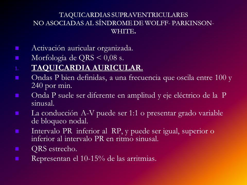 TAQUICARDIAS SUPRAVENTRICULARES NO ASOCIADAS AL SÍNDROME DE WOLFF- PARKINSON- WHITE. Activación auricular organizada. Morfología de QRS < 0,08 s. 1. 1