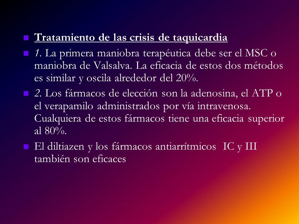 Tratamiento de las crisis de taquicardia 1. La primera maniobra terapéutica debe ser el MSC o maniobra de Valsalva. La eficacia de estos dos métodos e