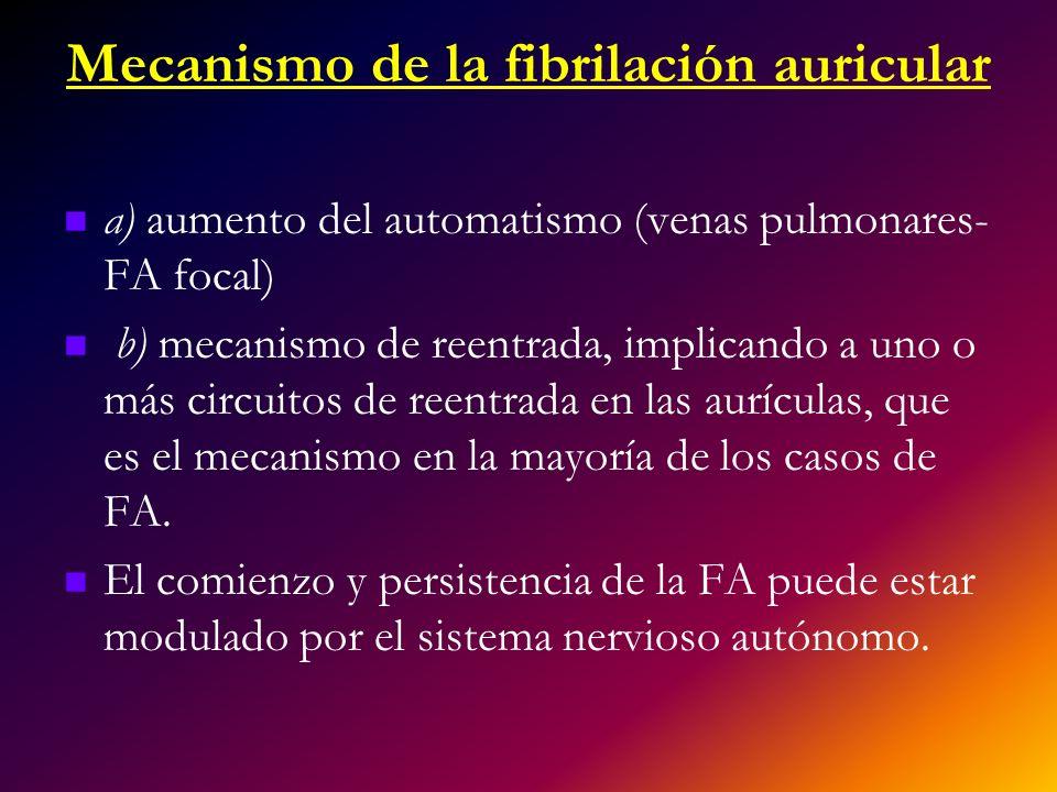 Mecanismo de la fibrilación auricular a) aumento del automatismo (venas pulmonares- FA focal) b) mecanismo de reentrada, implicando a uno o más circui