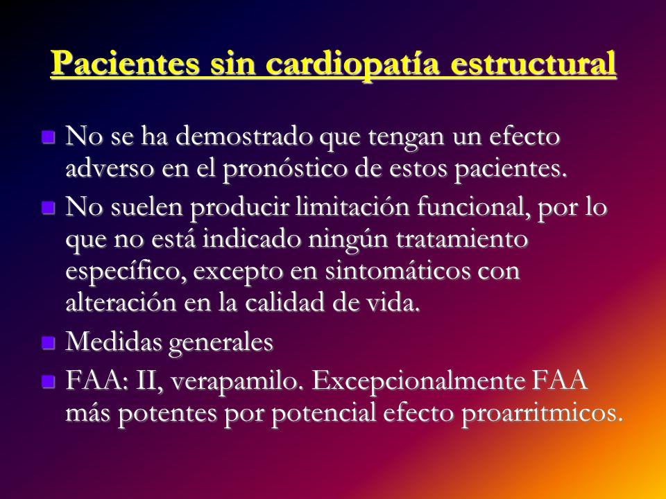 Pacientes sin cardiopatía estructural No se ha demostrado que tengan un efecto adverso en el pronóstico de estos pacientes. No se ha demostrado que te