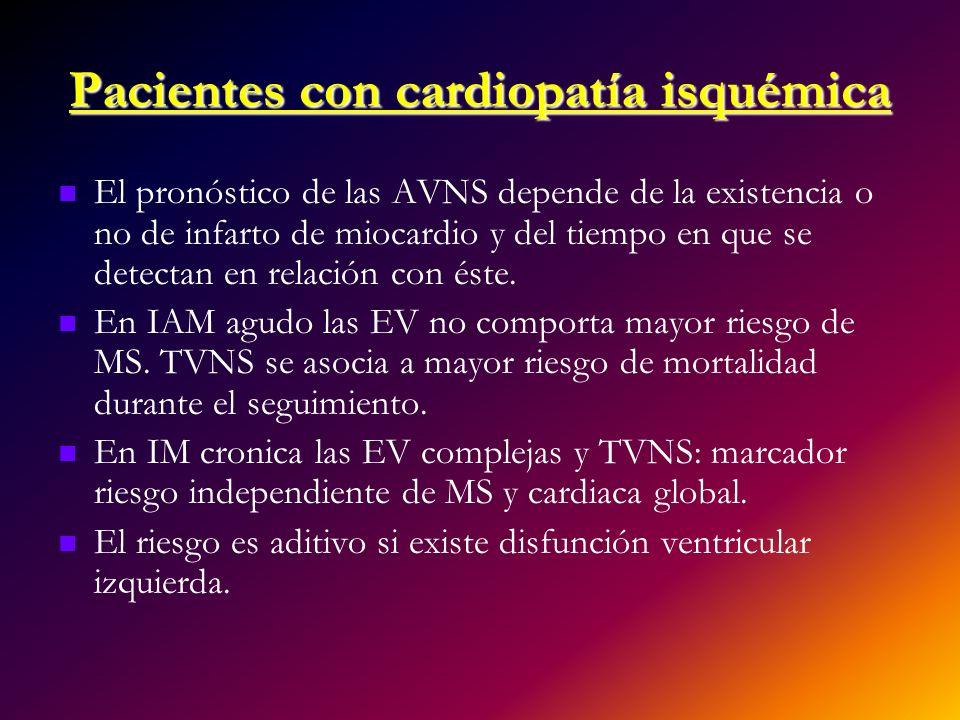 Pacientes con cardiopatía isquémica El pronóstico de las AVNS depende de la existencia o no de infarto de miocardio y del tiempo en que se detectan en