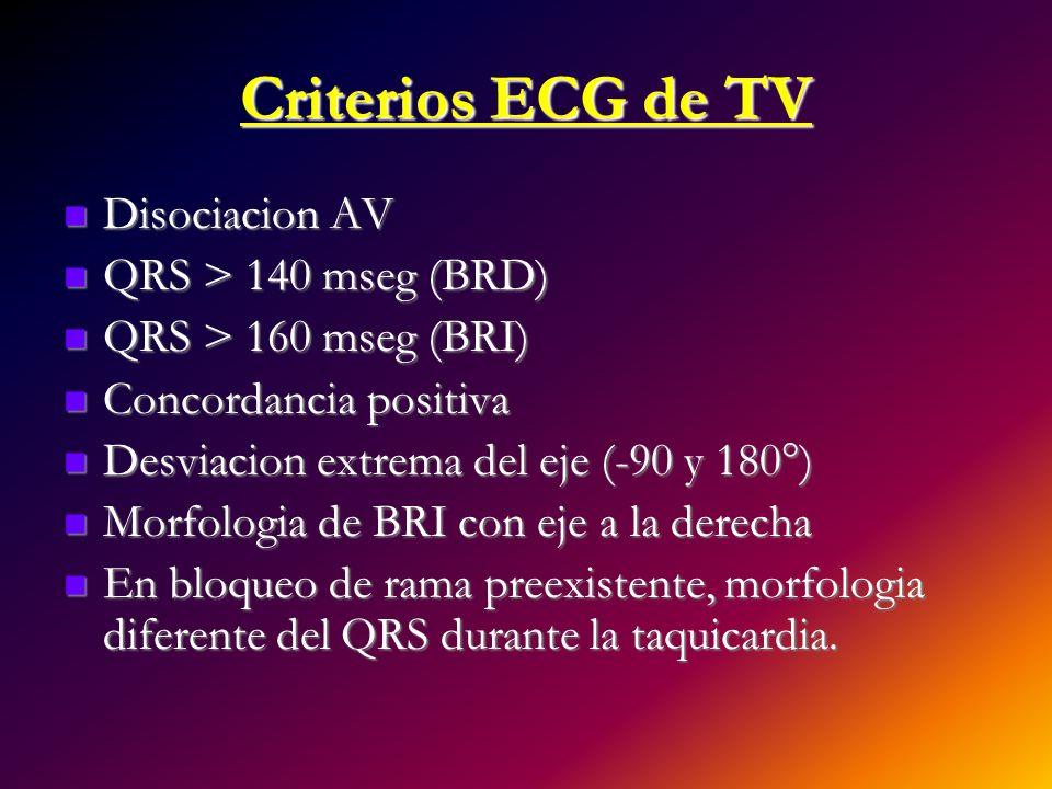 Criterios ECG de TV Disociacion AV Disociacion AV QRS > 140 mseg (BRD) QRS > 140 mseg (BRD) QRS > 160 mseg (BRI) QRS > 160 mseg (BRI) Concordancia pos