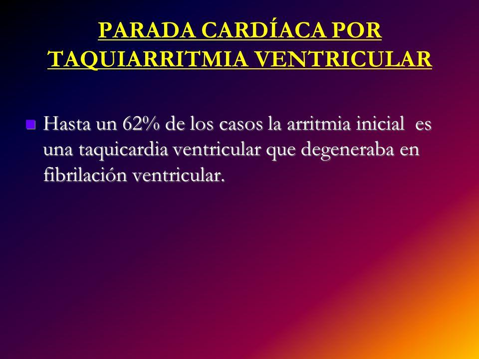 PARADA CARDÍACA POR TAQUIARRITMIA VENTRICULAR Hasta un 62% de los casos la arritmia inicial es una taquicardia ventricular que degeneraba en fibrilaci