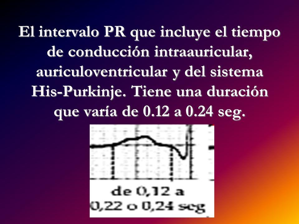 El intervalo PR que incluye el tiempo de conducción intraauricular, auriculoventricular y del sistema His-Purkinje. Tiene una duración que varía de 0.