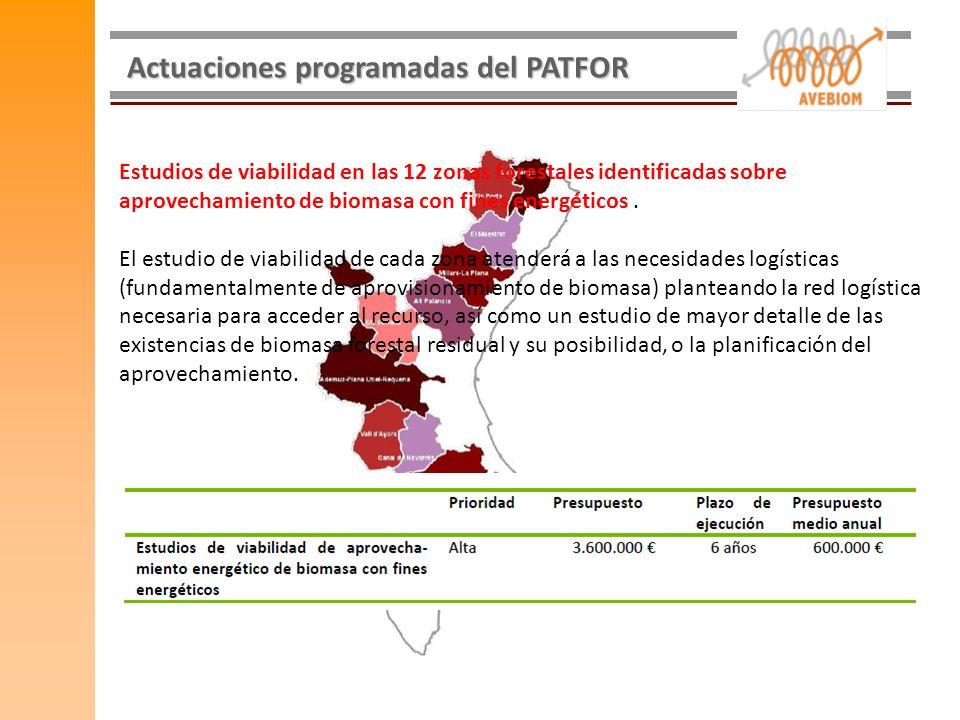 Actuaciones programadas del PATFOR Estudios de viabilidad en las 12 zonas forestales identificadas sobre aprovechamiento de biomasa con fines energéti